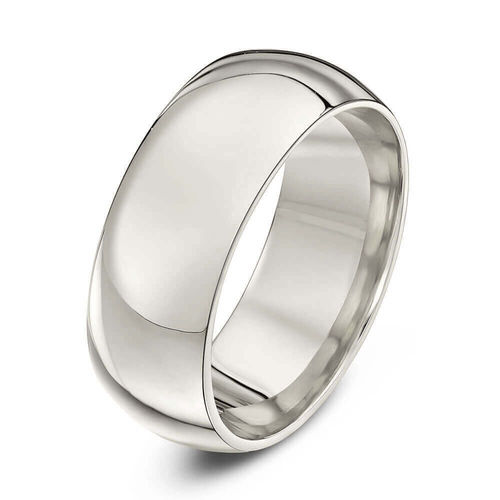 Mens heavy Platinum 8mm Court shape Wedding Ring