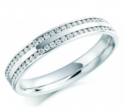 18ct white Gold 2 channel 1 Carat round Diamond Eternity Ring