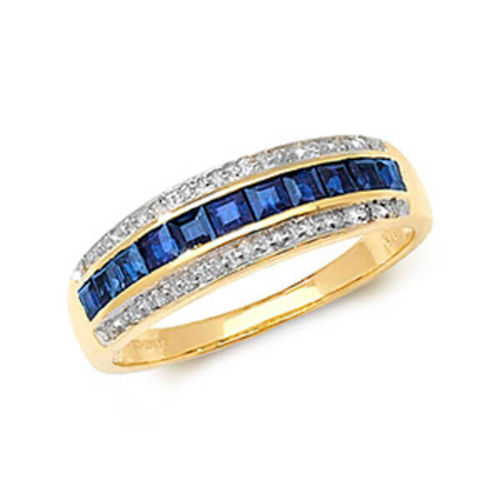 9ct yellow Gold Diamond & square Sapphire Eternity Ring