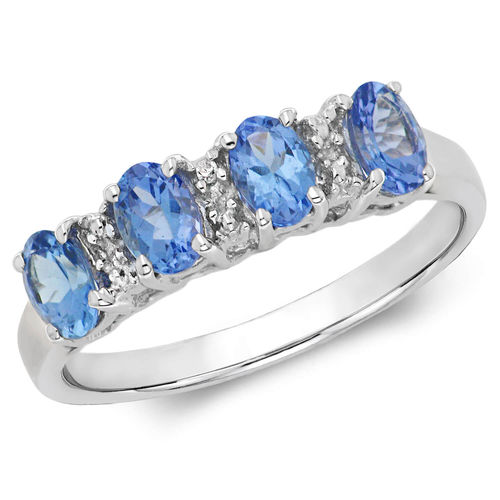 9ct white Gold oval 4 stone Tanzanite & Diamond Ring