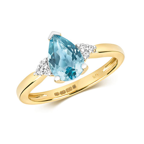 Womens 9ct yellow Gold London Blue Pear Topaz & Diamond Ring