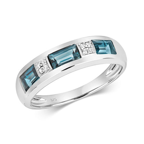 9ct white Gold London Blue Topaz & Diamond Eternity Ring