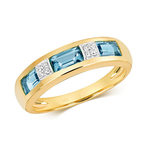 9ct yellow Gold London Blue Topaz & Diamond Eternity Ring