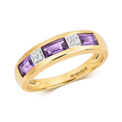 9ct yellow Gold oval Amethyst & Diamond Eternity Ring