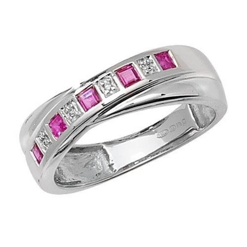 9ct white Gold Diamond & Ruby crossover Eternity Ring