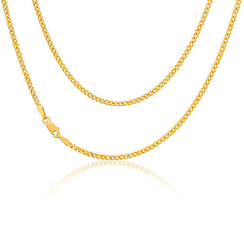 9ct yellow Gold flat bevelled Curb Chain Necklace 18 inch