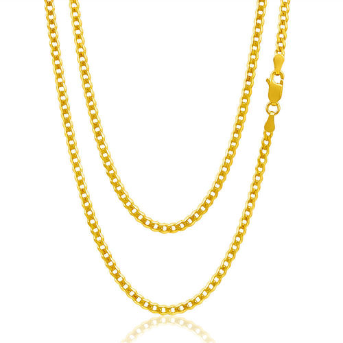 9ct yellow Gold flat bevelled Curb Chain Necklace 20 inch 10 grams