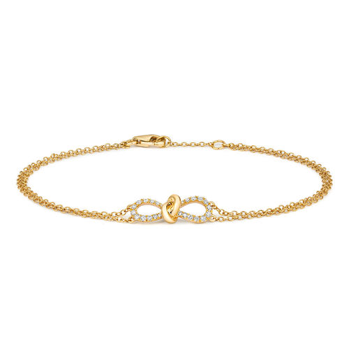 9ct yellow Gold Diamond bow Bracelet 7 inch