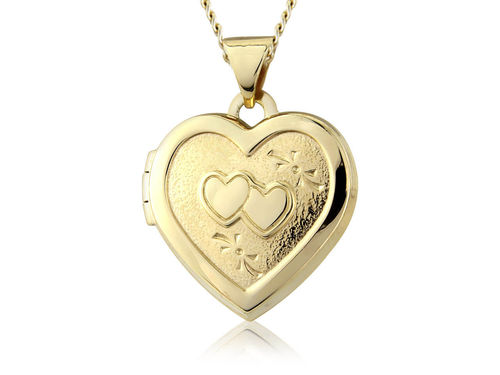 9ct yellow Gold double Heart Locket with 18 inch Necklace