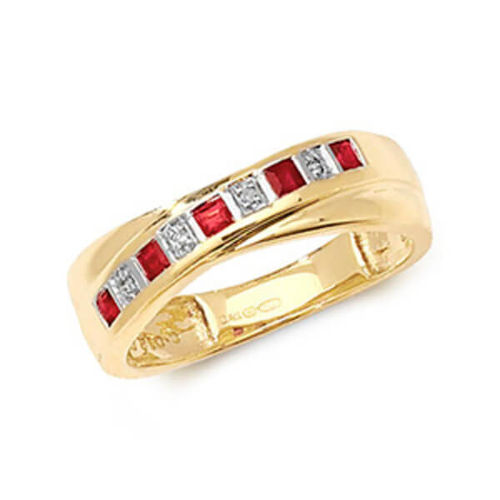 9ct yellow Gold Ruby & Diamond crossover Eternity Ring