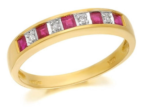 9ct yellow Gold Diamond & Ruby half Eternity Ring