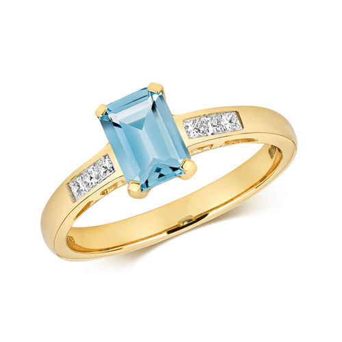 9ct yellow Gold Emerald cut London Blue Topaz & Diamond Engagement Ring