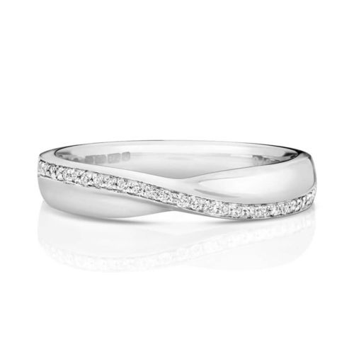 Womens 18ct white Gold crossover Diamond Wedding Ring