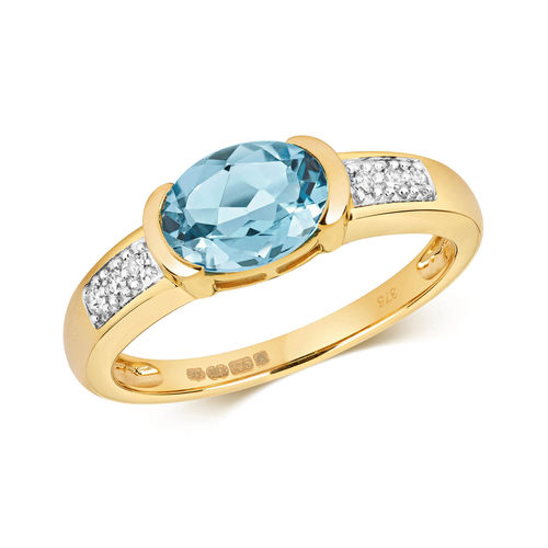 9ct Gold London Blue Topaz Diamond Engagement Ring