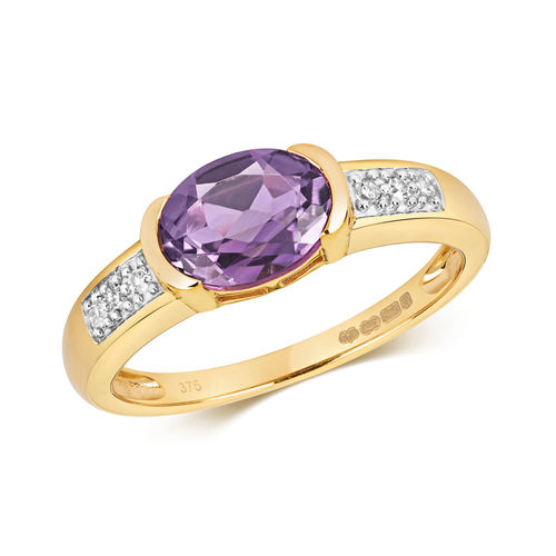 9ct yellow Gold oval Amethyst & Diamond Engagement Ring