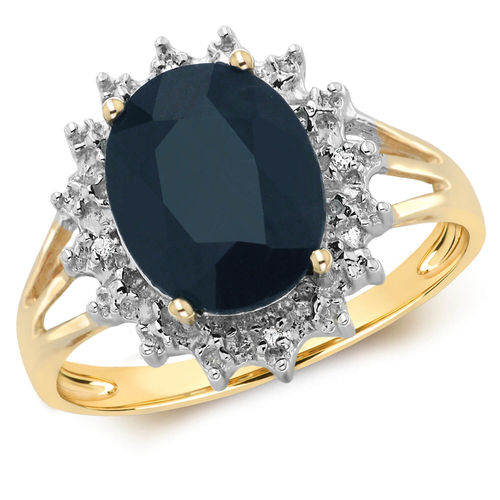 Ladies 9ct Yellow Gold Sapphire & Diamond Cluster Ring
