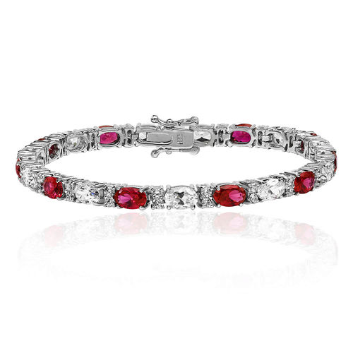 Womens Sterling Silver oval Ruby & CZ claw set Bracelet