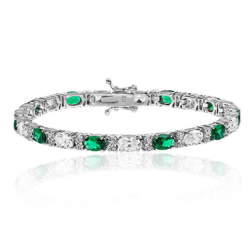Womens Sterling Silver oval Emerald & CZ claw set Bracelet