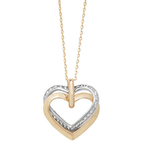 9ct Yellow & White Gold Cubic Zirconia Open Hearts Necklace