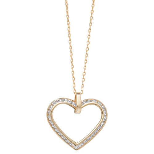 9ct yellow Gold Cubic Zirconia Heart Pendant Necklace