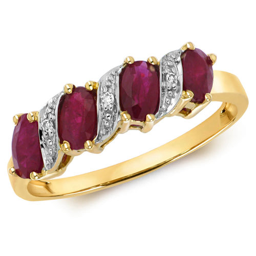 Womens 9ct yellow Gold oval Ruby & Diamond Ring