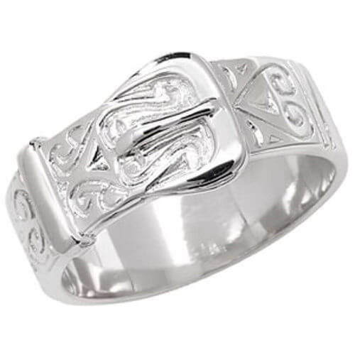 Men's Sterling Silver Patterned Buckle Ring 5 grams