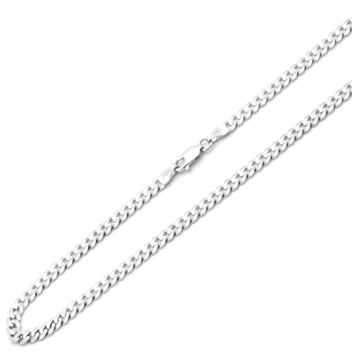 9ct White Gold Curb Chain 22 inch 18 grams