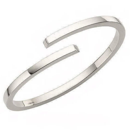 Solid Platinum 3mm square crossover Bangle 45 grams