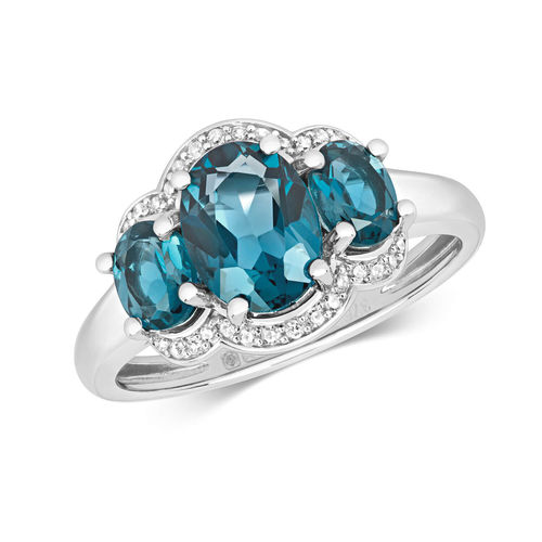 Womens 9ct white Gold 3 Oval London Blue Topaz & Diamond Ring