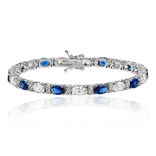 Womens Sterling Silver oval Sapphire & CZ claw set Bracelet