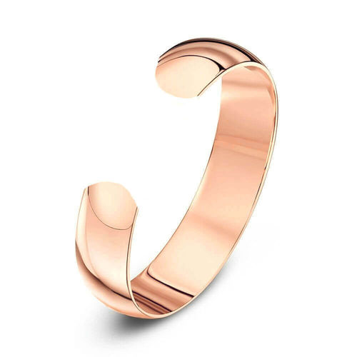 Solid 18ct Rose Gold 6mm open D shape Cuff Bangle 25 grams