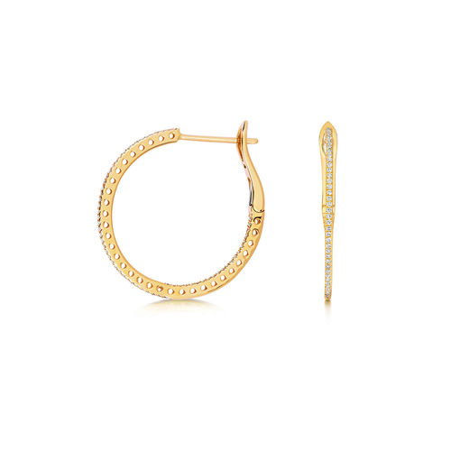 18ct Yellow Gold round Diamond Hoop Earrings