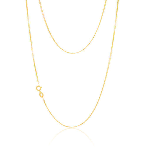 18ct Gold Diamond cut Curb Necklace 18 inch