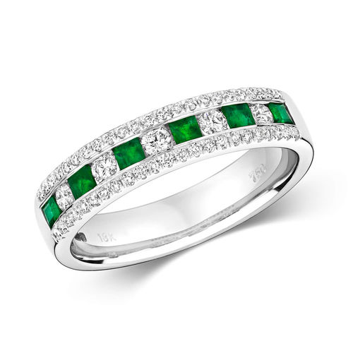 18ct white Gold Princess cut Emeralds & round Diamonds Eternity Ring