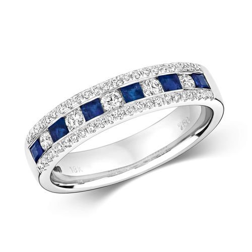 18ct white Gold Princess cut Sapphire & round Diamond Eternity Ring