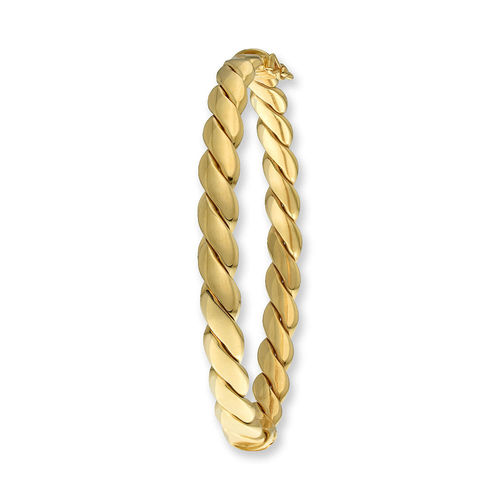 9ct yellow Gold twist style hinged Bangle 8 grams