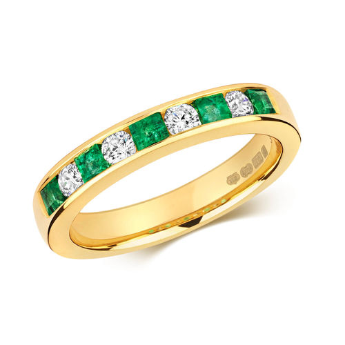 9ct Gold square Emerald & round Diamond Eternity Ring