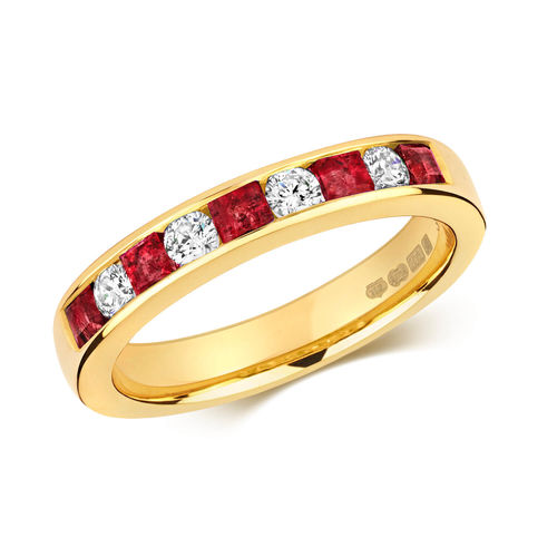 9ct Gold square Ruby & round Diamond Eternity Ring