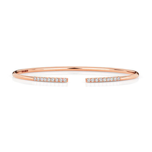 18ct Rose Gold round Diamond Bangle