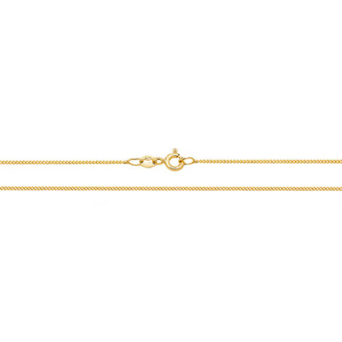Women's 18ct Yellow Gold close Curb Chain Necklace 18 inch