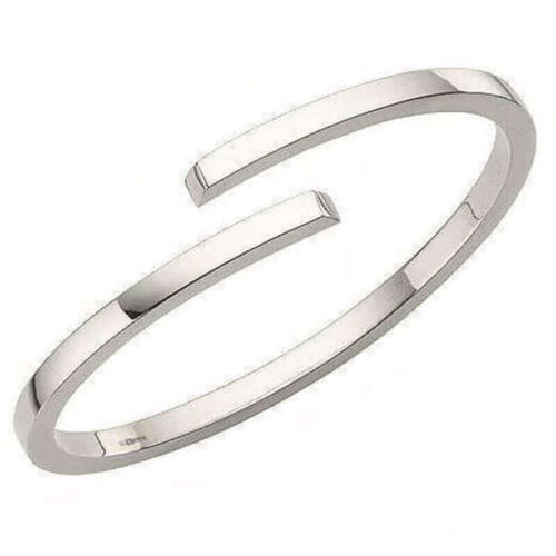 Solid Platinum 2mm square crossover Bangle 20 grams