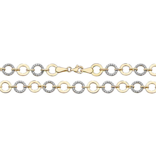 Womens 9ct Gold CZ Bracelet 7 1/2 inch
