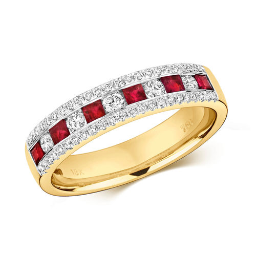 9ct Gold Ruby & round Diamond Eternity Ring