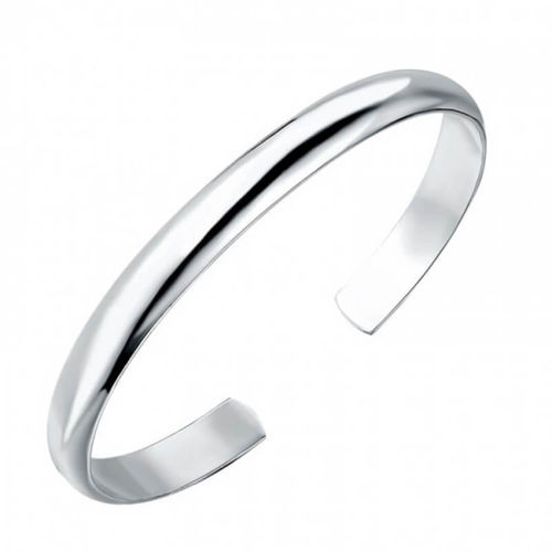 Solid 18ct White Gold 6mm open D shape Cuff Bangle 27 grams