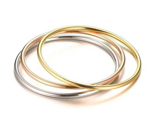 Solid 9ct Gold 2mm round Triple Colour 3 Bangle Set 23 grams