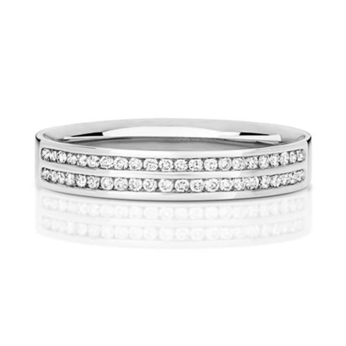Womens 18ct White Gold 3mm 2 row Court shape Diamond Wedding Ring