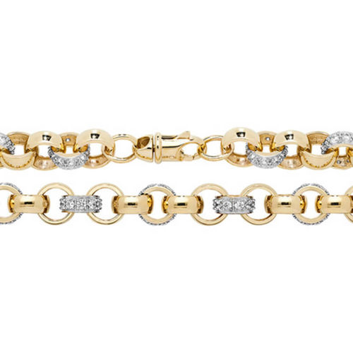 Men's 9ct Gold heavy CZ Belcher Bracelet 8 inch 42 grams