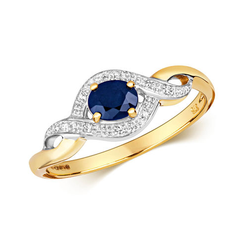 Womens 9ct yellow & white Gold oval Sapphire & Diamond Ring