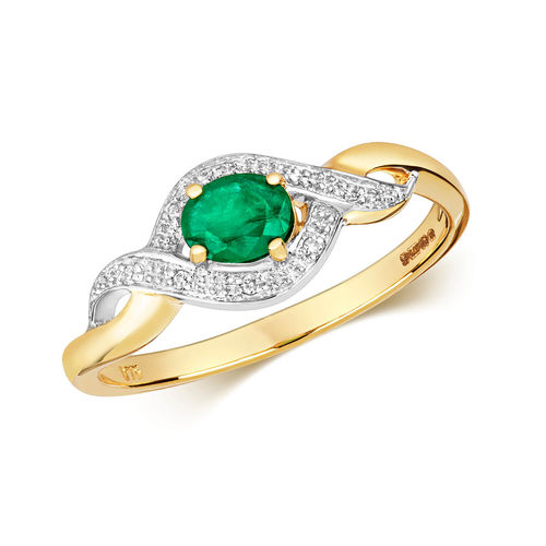 Womens 9ct yellow & white Gold oval Emerald & Diamond Ring