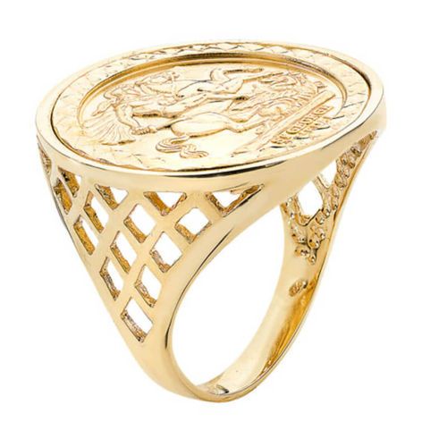Mens 9ct yellow Gold George & Dragon Coin BSK side Ring